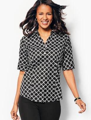 The Perfect Elbow-Sleeve Shirt - Geo-Print