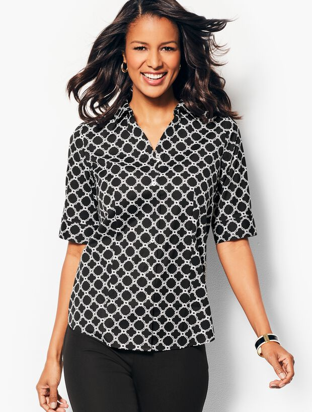 The Perfect Elbow-Sleeve Shirt - Geo-Print