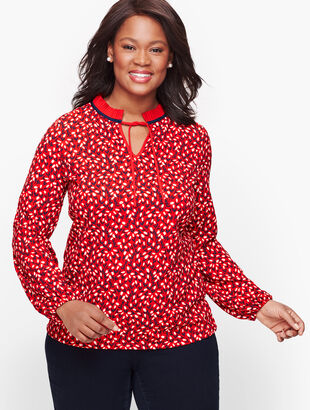 Pleated Tie Neck Top - Floral