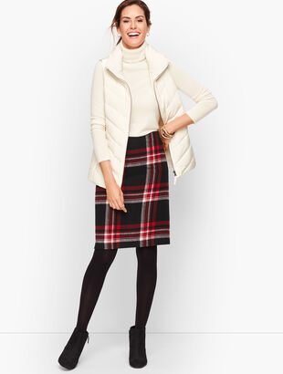 Wool Blend A-Line Skirt - Plaid