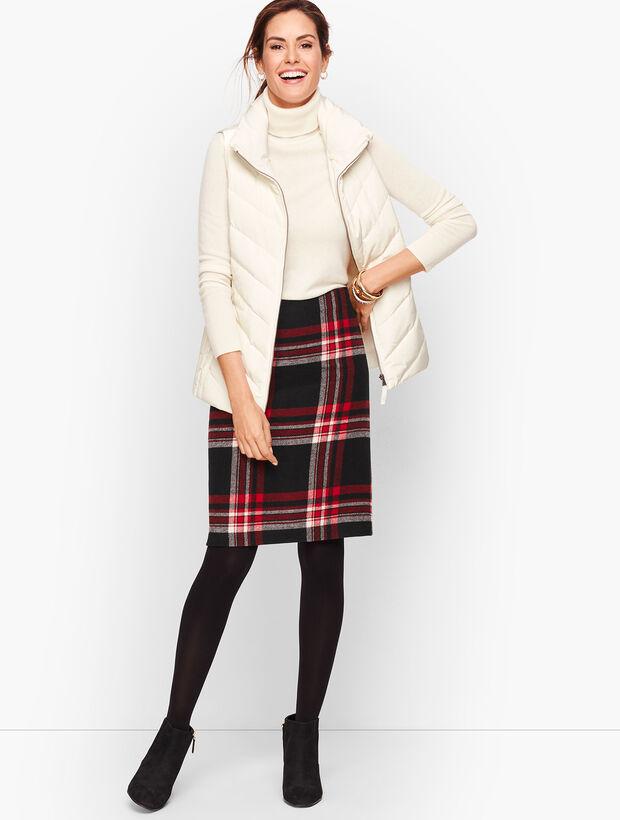 Wool Blend A-Line Skirt - Plaid