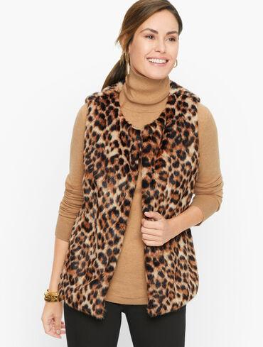 Plus Size Faux Fur Leopard Vest