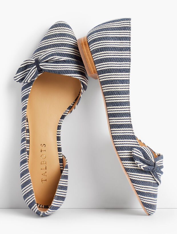 Edison Stripe Pleated dOrsay Flats - Stripe