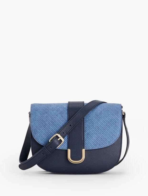 Pebble Leather & Woven Crossbody Bag