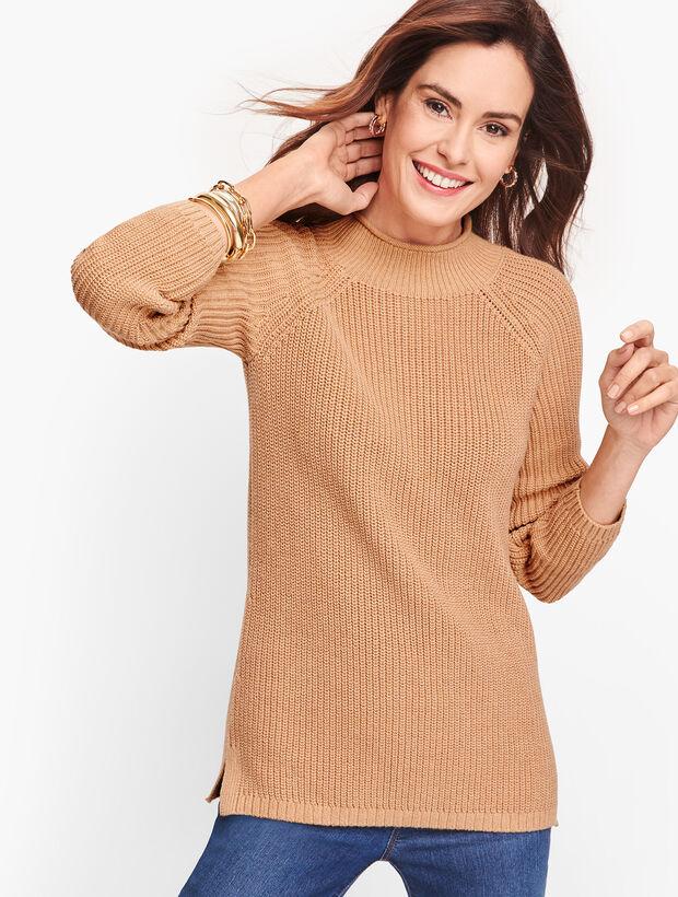 Cotton Shaker Stitch Roll Neck Sweater