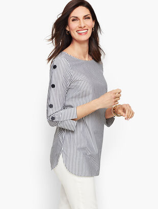 Button Sleeve Poplin Shirt - Stripe
