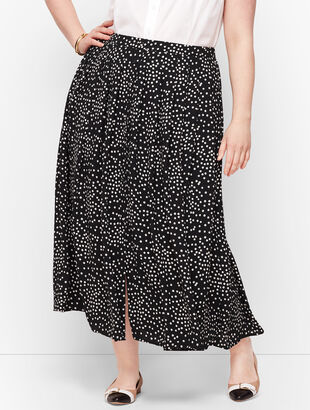 Dot Button Front Skirt