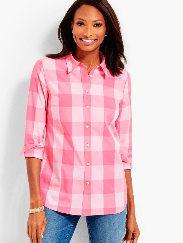 Bicolor-Check Button Front Shirt