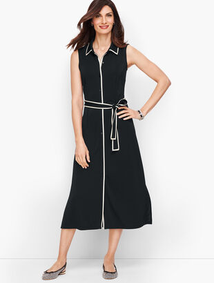 Tipped Jersey Shirtdress