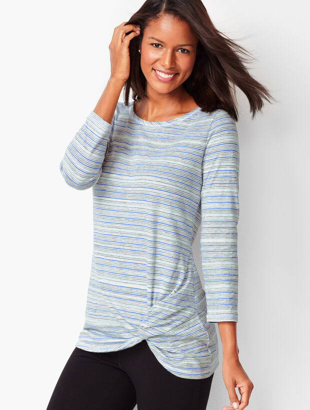Stripe Twist-Front Top