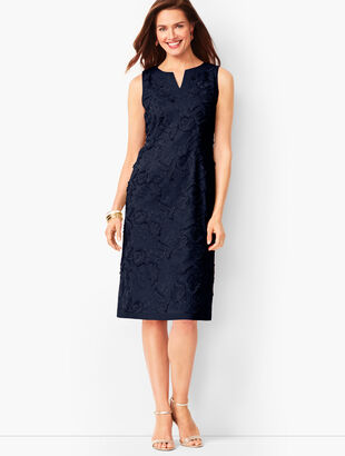 Embroidered Clipped-Floral Shift Dress