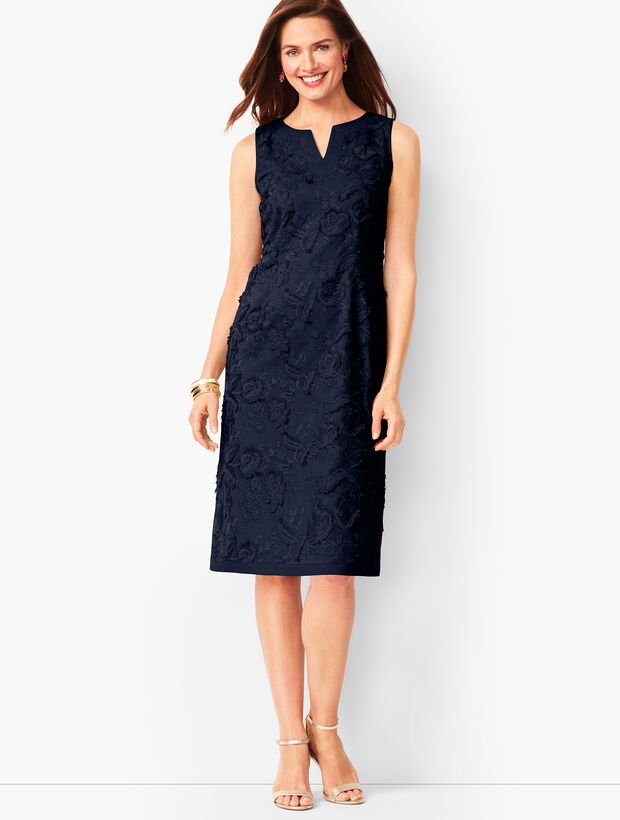 Talbots Embroidered Clipped-Floral Shift Dress