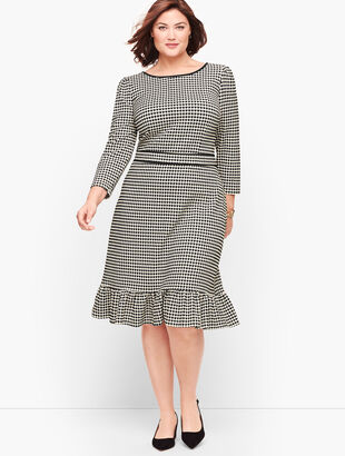 Flounce Hem Ponte Shift Dress - Dot Stripe