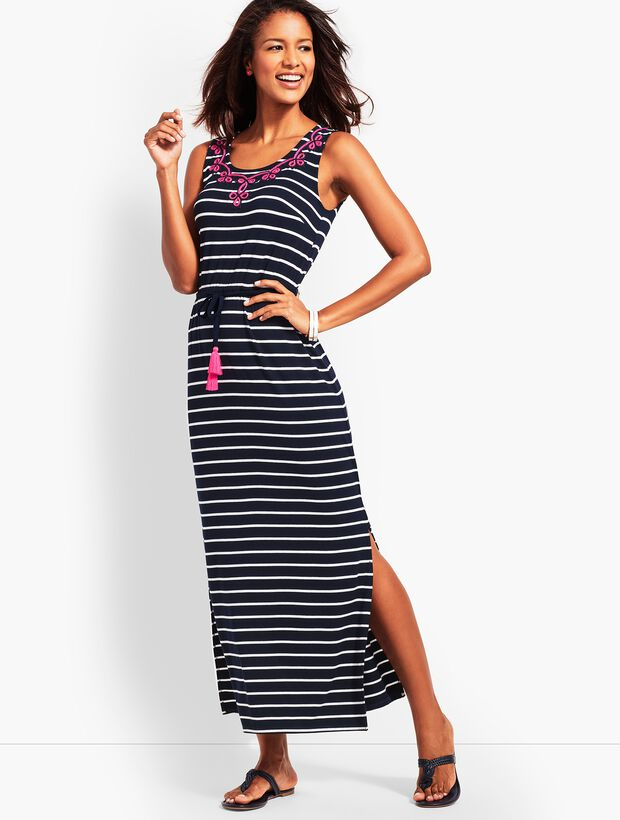 Embroidered Tassel-Belt Stripe Jersey Maxi Dress