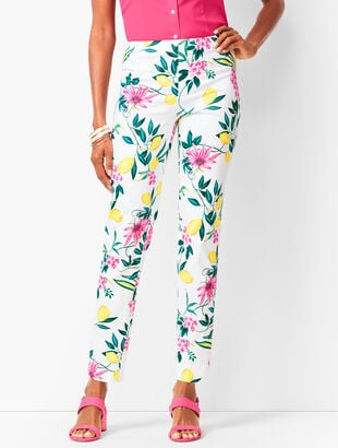 Lemon-Motif Tailored Ankle Pants