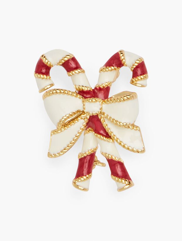 can buy one or both small gold-colored Christmas candy cane pins worn as lapel pins Vintage