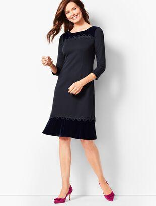 Refined Ponte & Velvet Dress