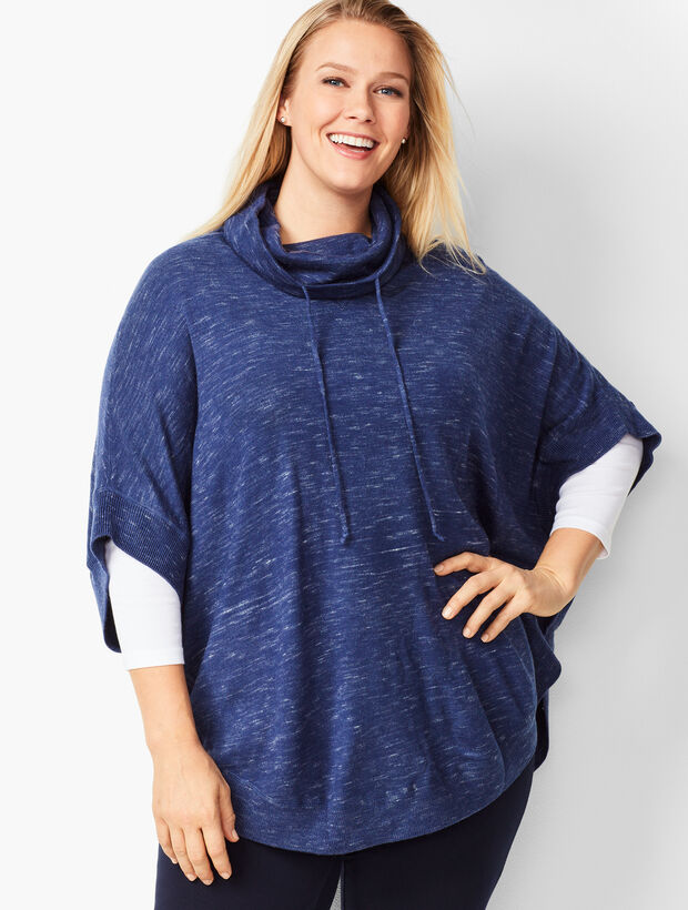 Plus Size Space-Dyed Knit Poncho