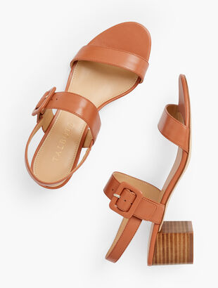 Mimi Leather Block Heel Sandals