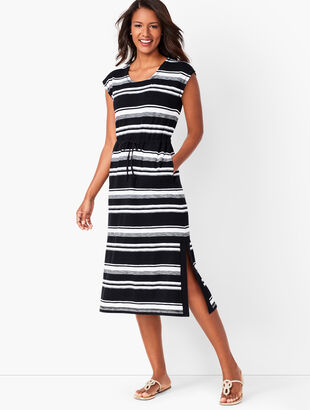 Tie-Waist Stripe Midi Dress
