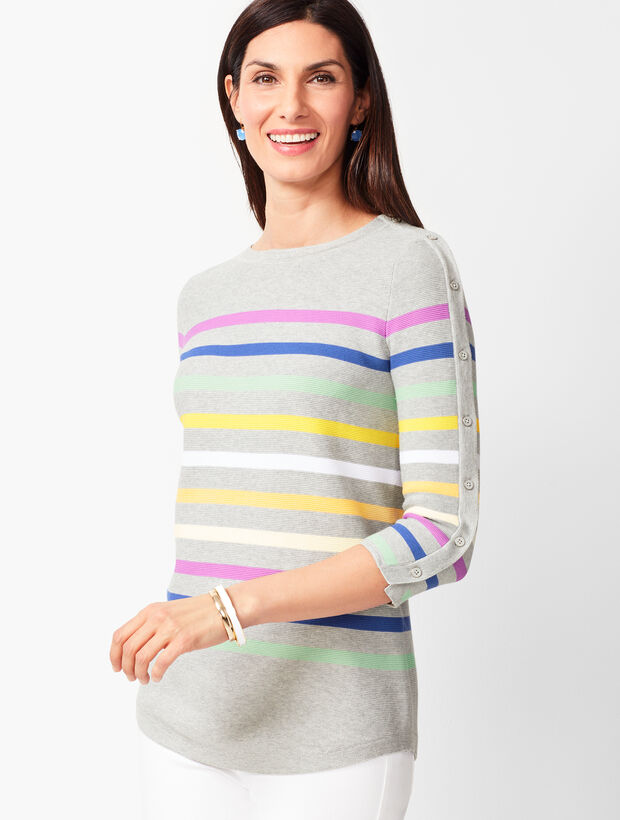 Button-Sleeve Sweater - Stripe