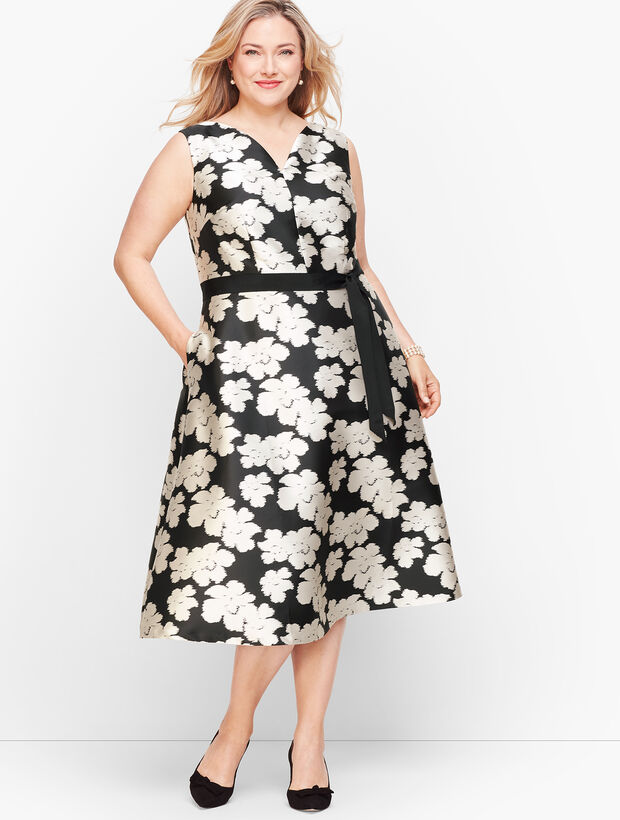 Ikat Jacquard Fit & Flare Dress
