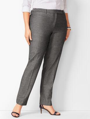 Bi-Stretch High-Waist Straight-Leg Pants - Sharkskin