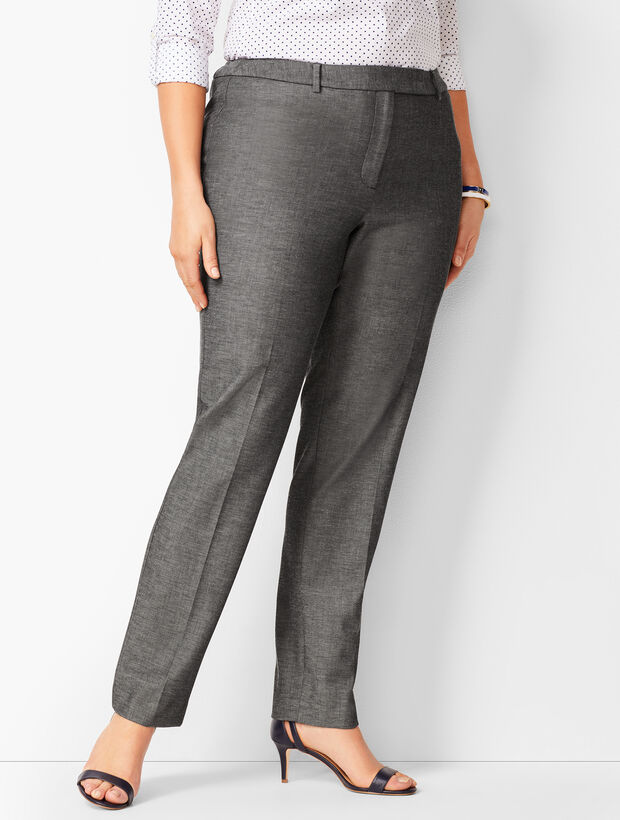 Bi-Stretch High-Waist Straight-Leg Pants - Sharkskin