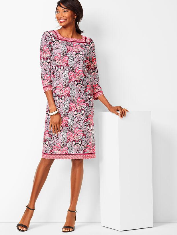 Paisley Knit Jersey Shift Dress