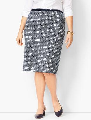 Grosgrain-Trim Jacquard Pencil Skirt