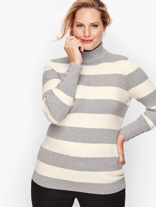 Button Cuff Ribbed Turtleneck Sweater - Shimmer Stripe