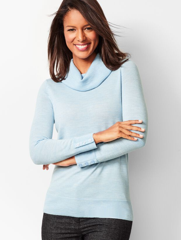 Merino Button-Cuff Cowlneck Sweater