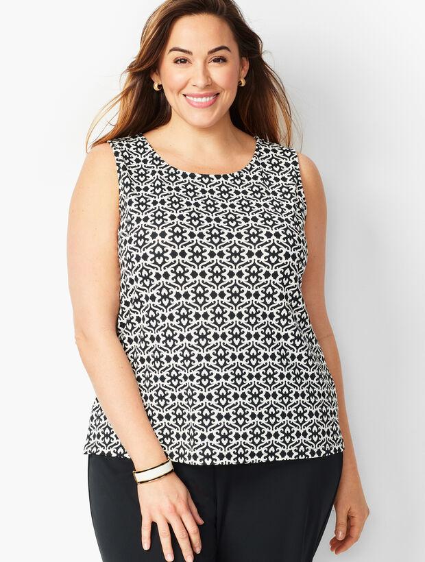 Plus Size Knit Jersey Shell - Crewneck - Baroque