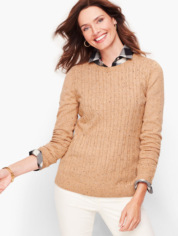 Button Cuff Cableknit Sweater - Tweed