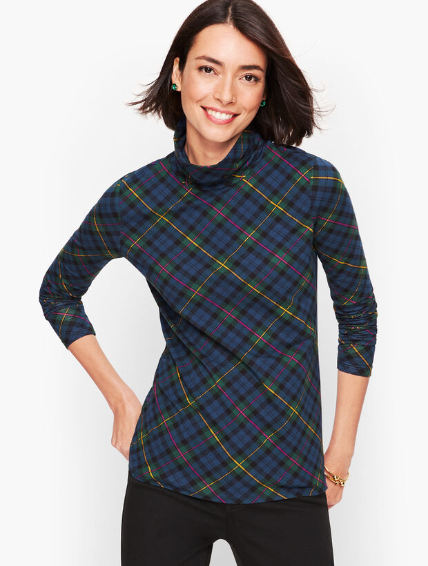 Long Sleeve Turtleneck Tee - Tinsel Tartan