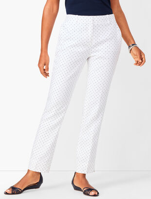 Linen Slim Ankle Pants - Curvy Fit - Dot
