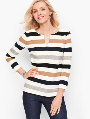 Textured Zip-Back Top - Stripe