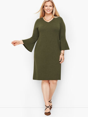 Merino Flounce Sleeve Sweater Dress