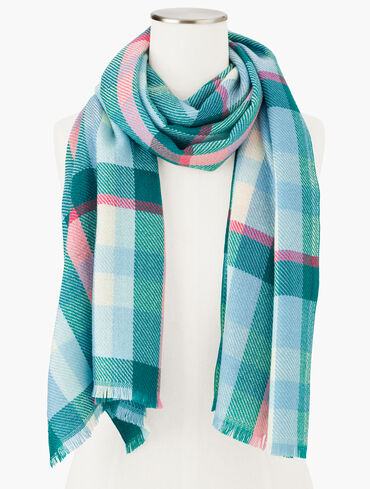 Icicle Plaid Oblong Scarf