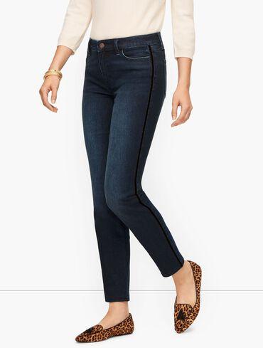 Slim Ankle Jeans - Black Velvet Trim