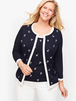 Charming Cardigan - Tossed Palm Trees