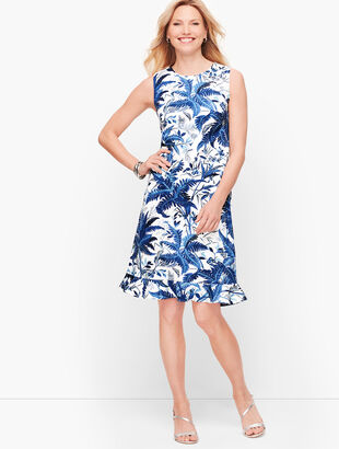 Sateen Flounce Hem Floral A-Line Dress
