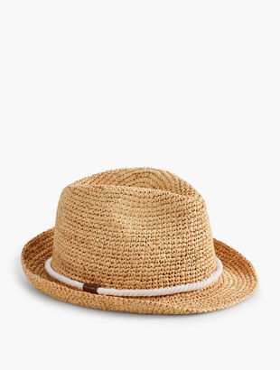 Crotchet Raffia Fedora - Rope Band