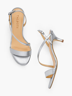 Pila Strappy Kitten Heel Sandals - Metallic Leather