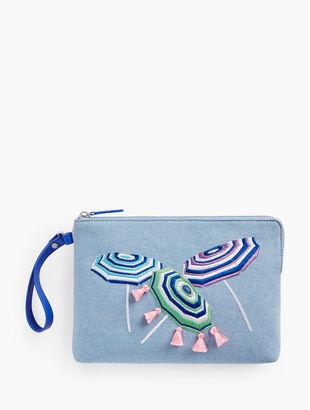 Embroidered Clutch - Beach Umbrellas