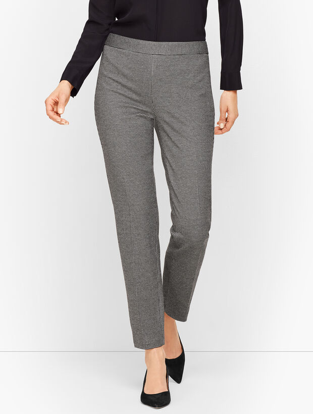 Luxe Knit Slim Ankle Pants - Houndstooth