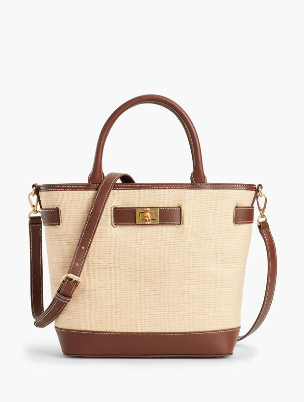 Leather-Trim Satchel - Paperstraw