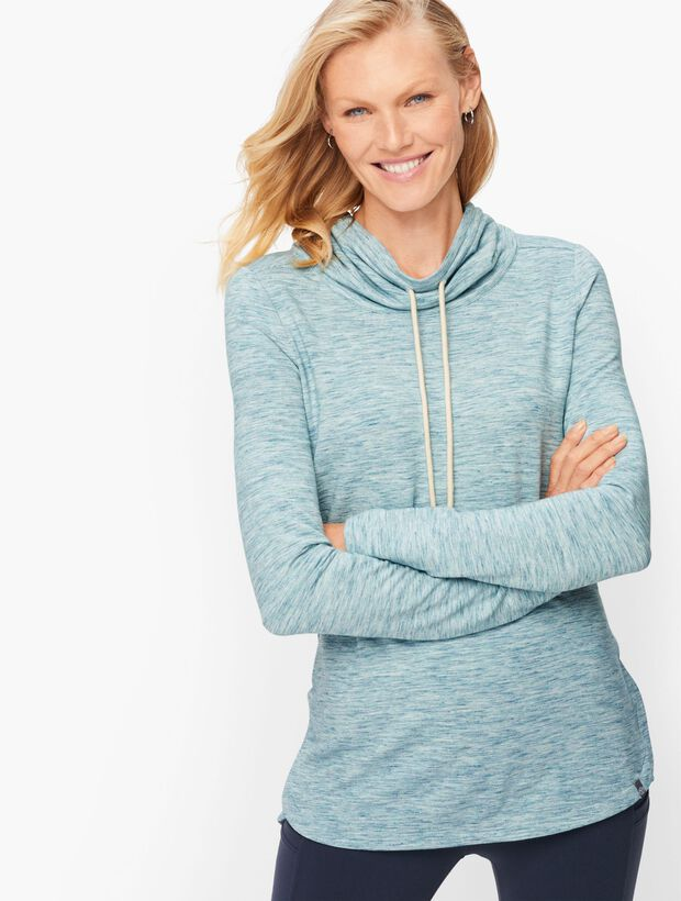 Heathered Drawstring Cowlneck Pullover