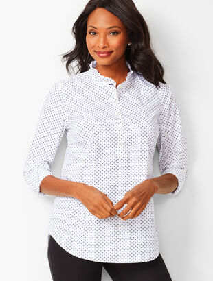 Ruffle-Neck Cotton Popover - Dot