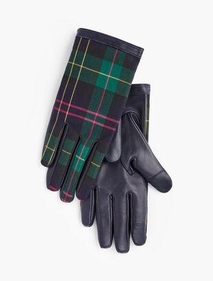 Talbots Tartan Leather Touch Gloves